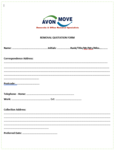 REMOVAL QUOTATION FORM FROM PAGE